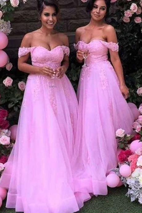 Off Shoulder Prom Dress,Appliques and Lace Prom Dress,Long Prom Dresses, Backless Prom Dress
