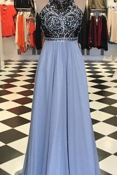 Hot Blue Prom Dress,Sparking Beading Prom Dress ,2017 High Neck Party Dress, Sexy Backless Prom Dresses