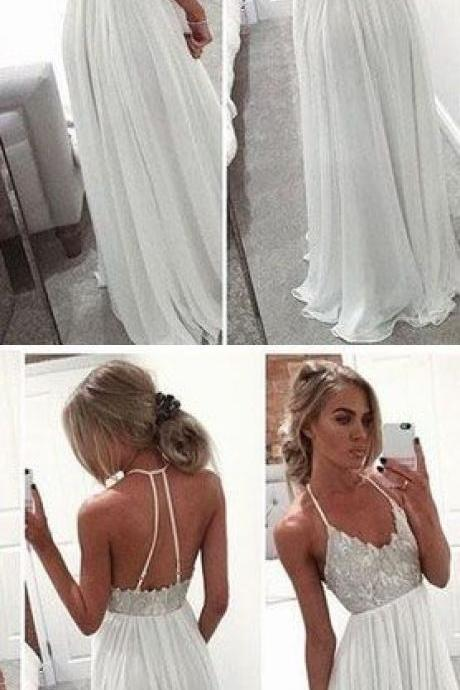 Chiffon Prom Dress,Long Prom Dress ,Sleeveless Prom Party Dress, Sexy Backless Prom Dresses