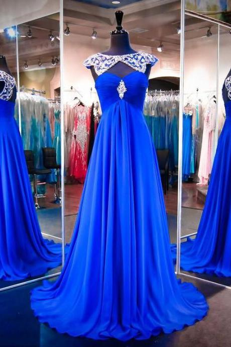 Evening Dress,A Line Chiffon Evening Dresses,Beaded Evening Gowns,Long Prom Dress,Prom Dresses