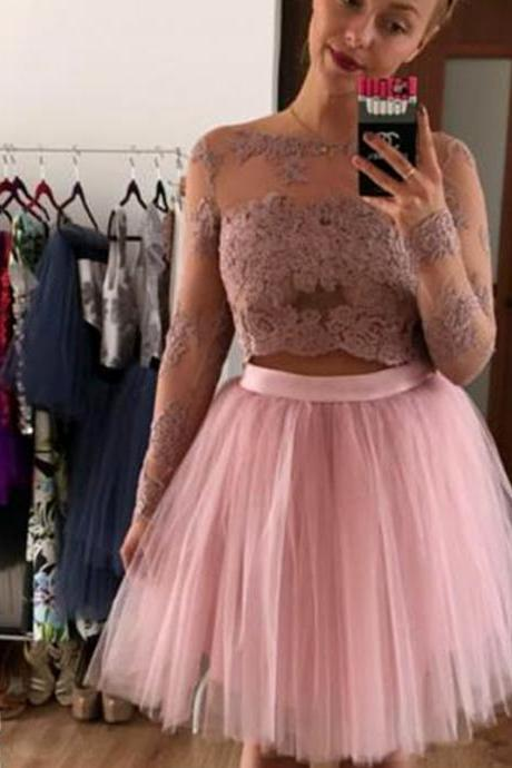 Long Sleeve Prom Dress,Tulle Prom Gown, Lace and Appliques Prom Gowns,Sexy Prom Dress,Graduation Dress