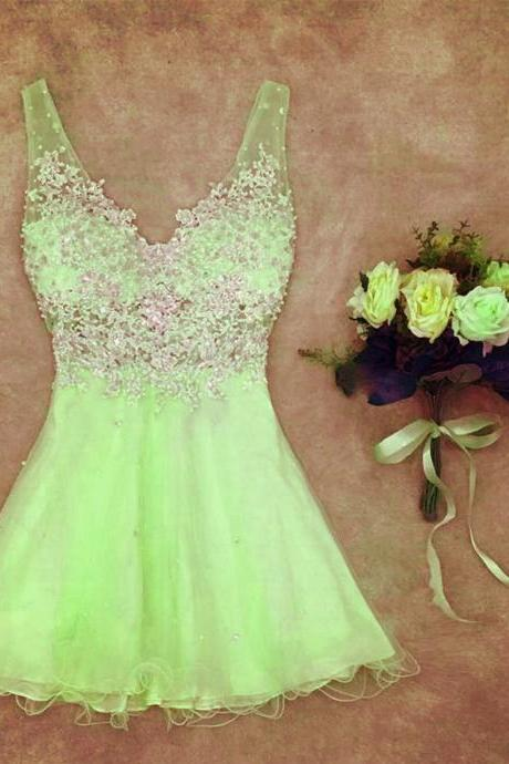 Sexy Prom Dress,Cute Prom Dress,Lovely Prom Dress,Mini Party Gown,Party Dress,Tulle Prom Dress,V Neck Prom Dress