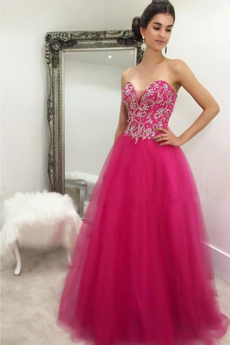 Sexy Prom Dress,Tulle Beaded Prom Dress,Long Prom Dress,Sweetheart Prom Dresses,Elegant Prom Dress,Backless Evening Dress,Formal Gown