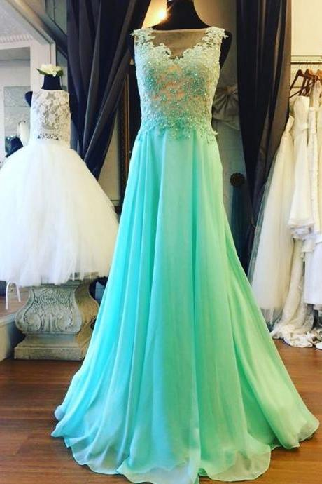 Sexy Prom Dress,Appliques Beaded Prom Dresses,See Though Prom Dresses,Sleeveless Evening Dress,Formal Evening Gown