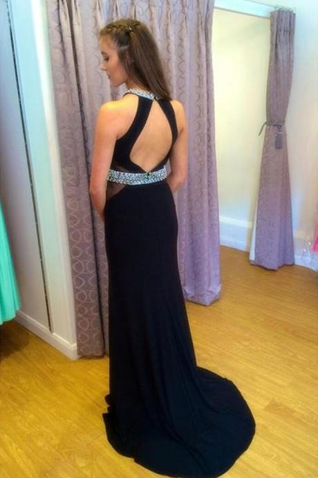 Prom Dress,Backless Chiffon Prom Dresses,Sleeveless O Neck Prom Gown,Sexy Evening Dresses,Beaded Prom Dress