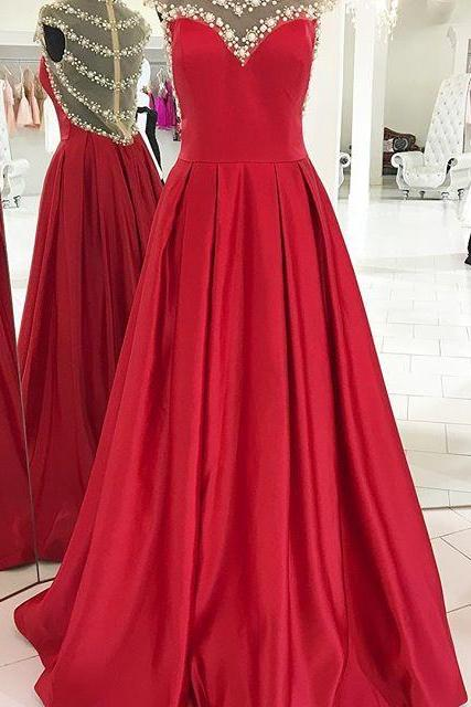 Charming Prom Dress,Long Prom Dresses,Sexy Red Prom Dress, Luxury Beaded Prom Dresses,Formal Women Dress