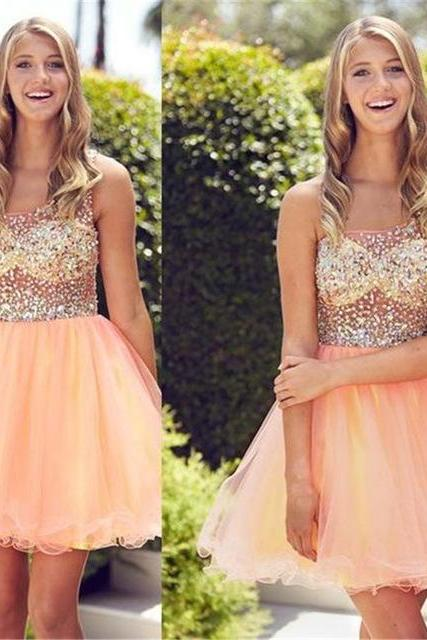 Prom Dress,Prom Dresses,One Shoulder Prom Gown,Tulle Beaded Homecoming Dress,Elegant Prom Gown
