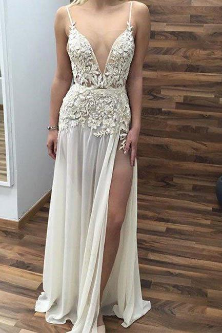 Sexy Prom Dress, Appliques V Neck Prom Dress,Long Prom Dresses with Side Slit,Sleeveless Evening Dress,Formal Women Dress