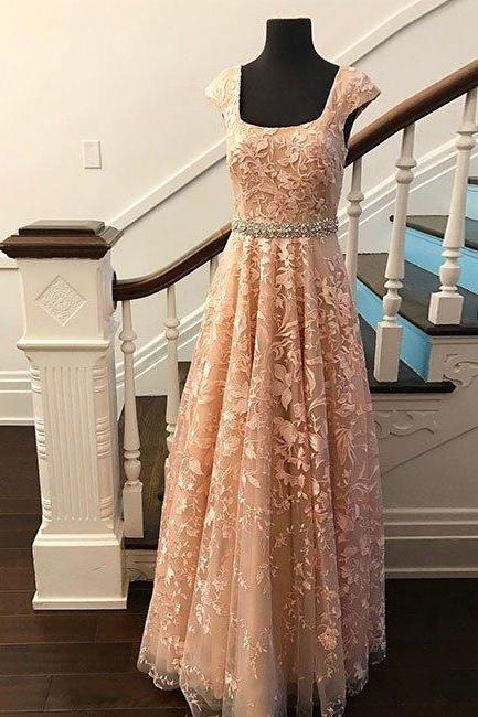 Sexy Prom Dress, Cap Sleeve Prom Dress,Lace Prom Dresses ,Tulle Prom Dress,Long Evening Dress,Formal Women Dress