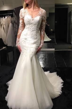 Lace Appliques Plunge V Long Mesh Sleeves Floor Length Tulle Mermaid Wedding Dress Featuring Train