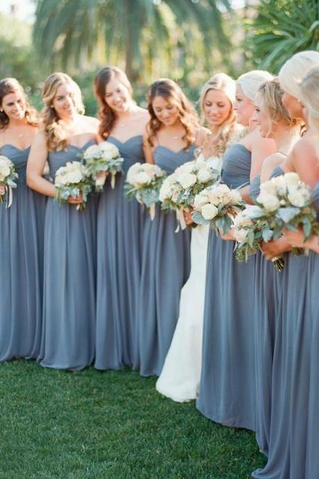 Custom Made Light Blue Chiffon Draped Floor length Bridesmaid Dress