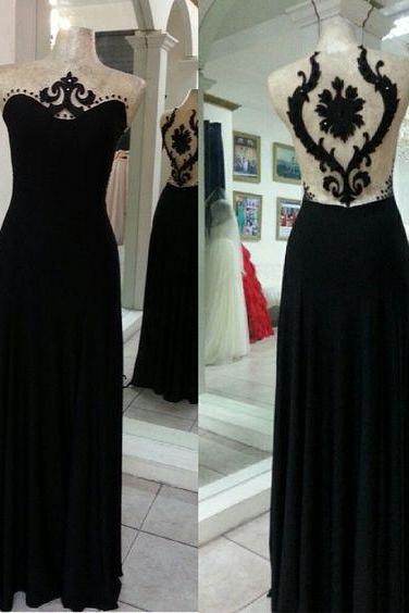 Sleeveless Prom Dress,Black Sheer Back Prom Dresses,Long Prom Dress,Sexy Evening Dress