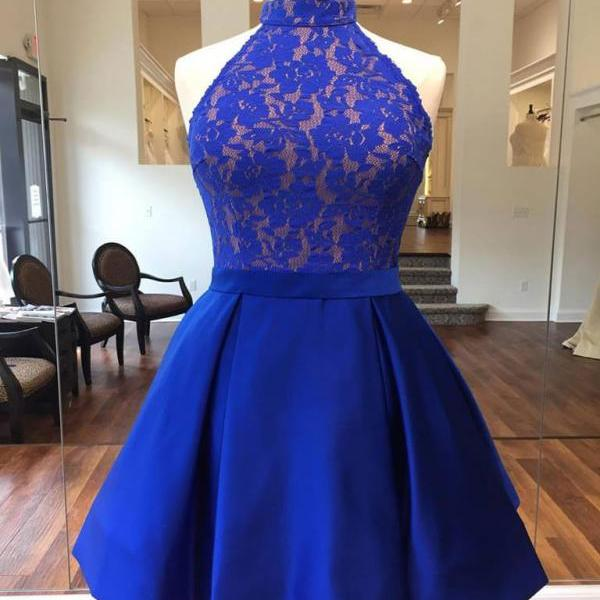 High Neck Lace Pleated Short Dress, Homecoming Dress Graduation Dress