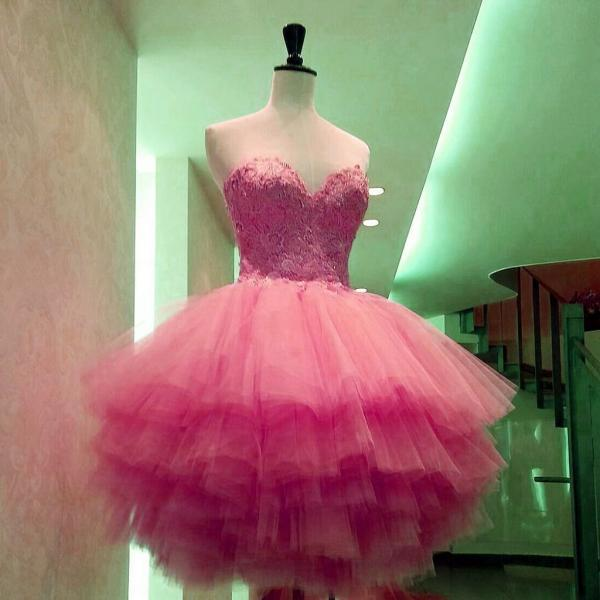 Charming Prom Dress,Sexy Prom Dress,Tulle Homecoming Dress,Appliques Lace Ruffles Prom Gown,Short Cocktail Dress