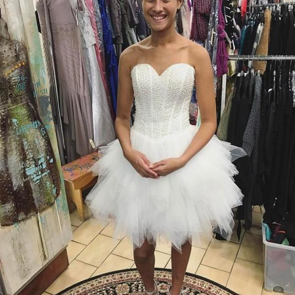 Hot Sale 8th Grade Prom Dresses Tulle Homecoming Dresses,Ruffles White Prom Gowns