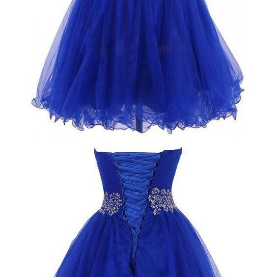 Tulle Prom Gown, Elegant Blue Short Homecoming Dress, 2018 Prom Dress CF117