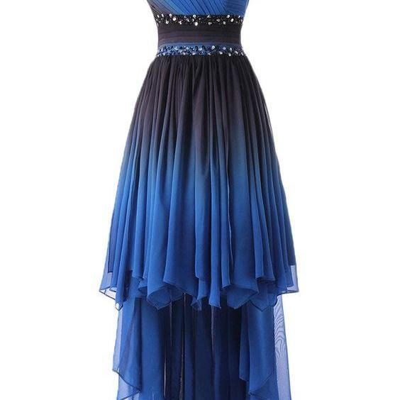 One Shoulder Prom Dress, High Low Prom Dresses, Elegant Prom Gown, Party Dress CF120