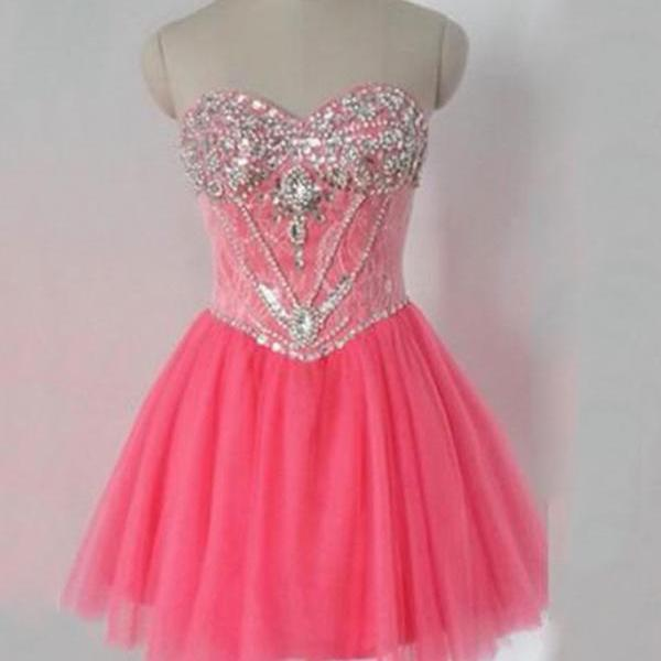 Charming Prom Dress, Tulle Beaded Short Prom Dresses, Elegant Prom Gowns CF135