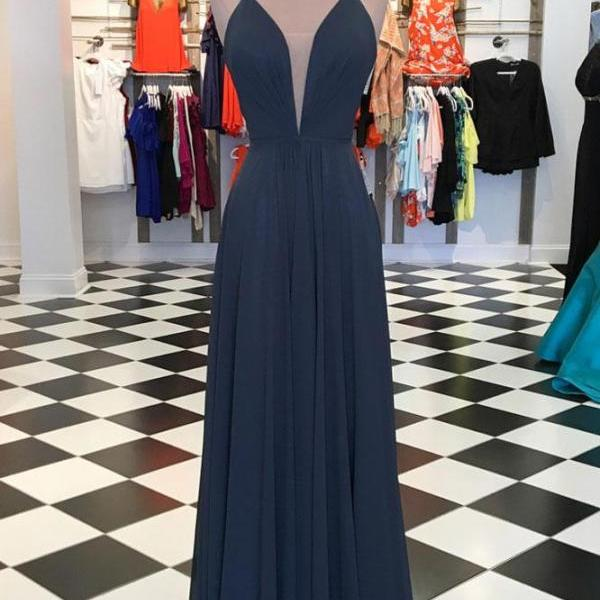 Sexy Simple Evening Dress, Sleeveless Chiffon Prom Dress, Long Prom Dresses CF136