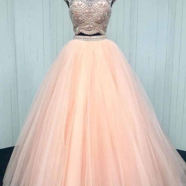 Sparkly Beaded Prom Dress, Tulle Prom Dress, Long Prom Dresses, Evening Dress CF179