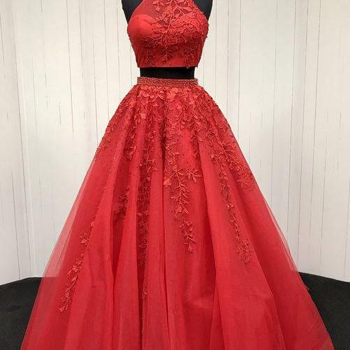 Sexy Two Piece Prom Dress, Tulle Prom Dress, Long Prom Dresses, Appliques Evening Dress, Homecoming Dress CF180