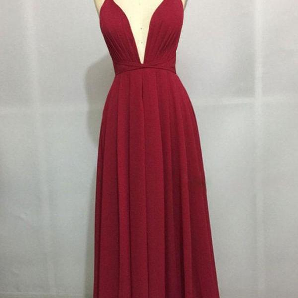 Sexy Chiffon Prom Dress, Burgundy Prom Dress, Long Prom Dresses, Backless Party Dress CF181