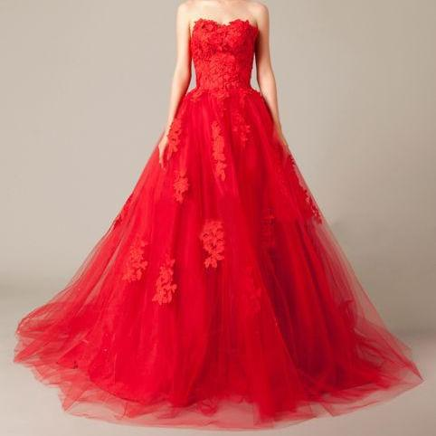 Princess Red Strapless Tulle Prom Dress with Appliques, Long Prom Dresses, Formal Evening Dress CF989