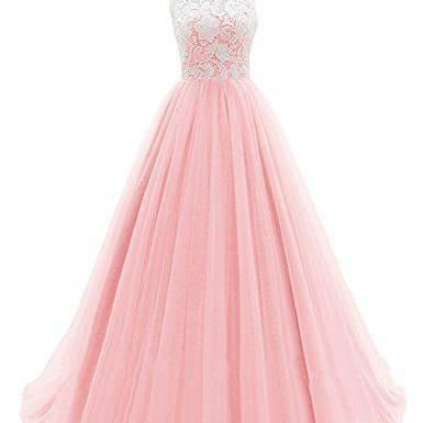 Princess Appliques Tulle Prom Dress, Long Prom Dresses, Charming Evening Dress CF992