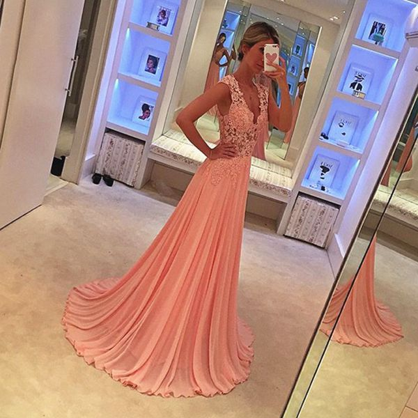 Princess Chiffon Prom Dress, Long Prom Dresses, Appliques Evening Dress CF995
