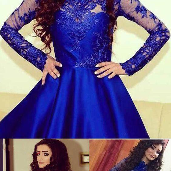 Elegant Appliques Prom Dress, Long Sleeve Royal Blue Short Homecoming Dress Prom Dresses CF1152