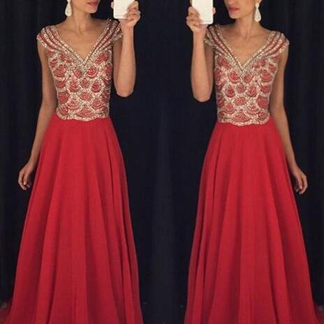 Charming Evening Dress, Long Prom Dresses with Crystal Beaded, Chiffon Evening Dress CF1153