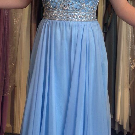Charming Beaded Blue Prom Dress, Long Prom Dresses, Sexy Sweetheart Evening Dress CF1155