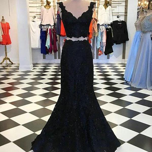 Sexy Sleeveless Prom Dress, Appliques Black Lace Prom Dresses, Long Evening Dress