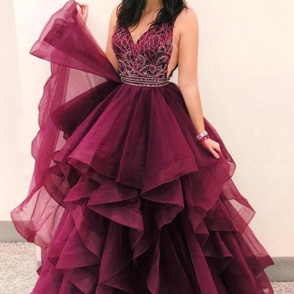 Sexy V Neck Sleeveless Prom Dress, Beaded Tulle Prom Dresses, Long Evening Dress
