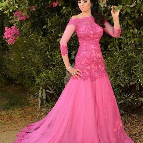 Appliques Long Sleeve Tulle Prom Dress, Formal Prom Dresses, Long Evening Dress