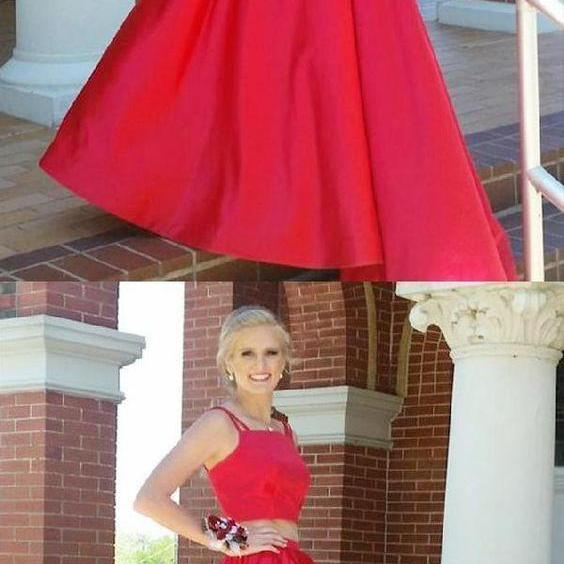 Elegant Two Piece Red Prom Dress, Formal Lace Prom Dresses, Evening Party Dress
