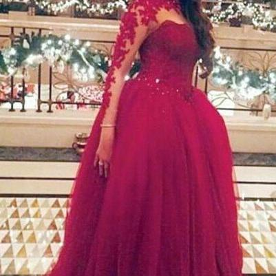 Bg800 Burgundy Ball Gown Prom Dress,Long Prom Dresses,Long Sleeve Prom Dress,Evening Dress,Evening Gown
