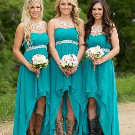 Bg1334 Turquoise Beach Bridesmaid Dresses High Low Modest Chiffon