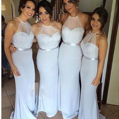 Simple Mermaid Pleated Bridesmaid Dress,New Halter Chiffon Floor Length Fitted Bridesmaid Gowns