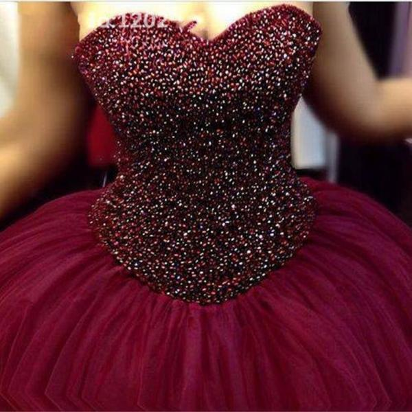 Burgundy Prom Dresses,Sweetheart Neck Beaded Prom Dresses Ball Gown Evening Dress