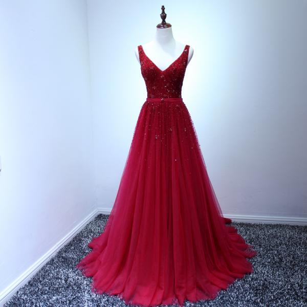 A line Sleeveless V neck Backless Red Evening Dresses Burgundy Long Prom Dresses