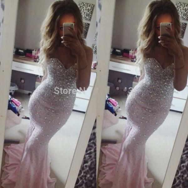 Fashionable Sweetheart Mermaid Prom Dress Long Pink Prom Dress Evening Gowns