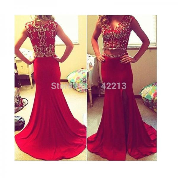 2 Pieces Style Red Mermaid Prom Dress Heavy Beaded Long Women Evening Pageant Gowns