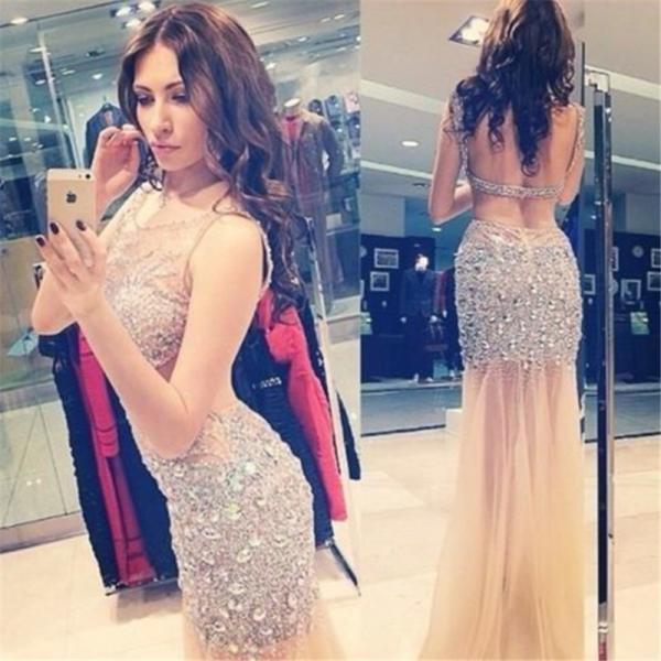 2016 New Sexy Shiny Rhinestone Long Prom Dress Long Mermaid Backless Luxury Crystal Evening Gowns