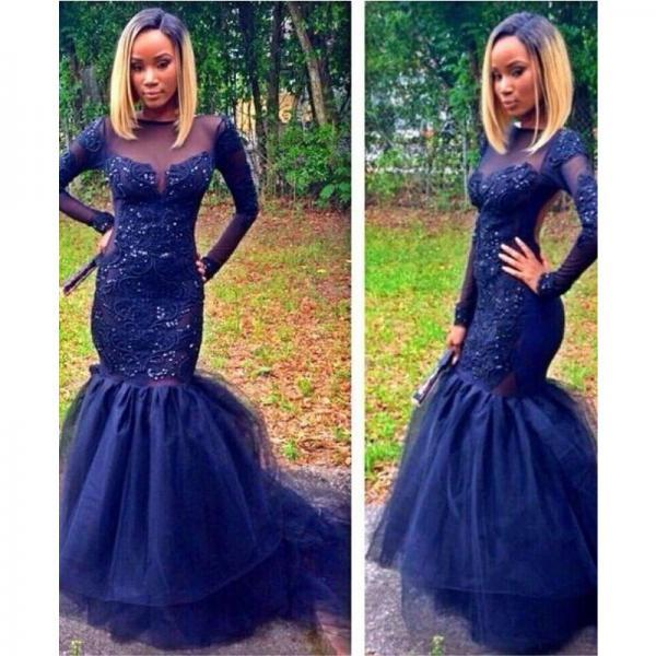 Sparkly Navy Blue Long Sleeve Prom Dresses Sheer Neck Mermaid Appliques Evening Party Gown