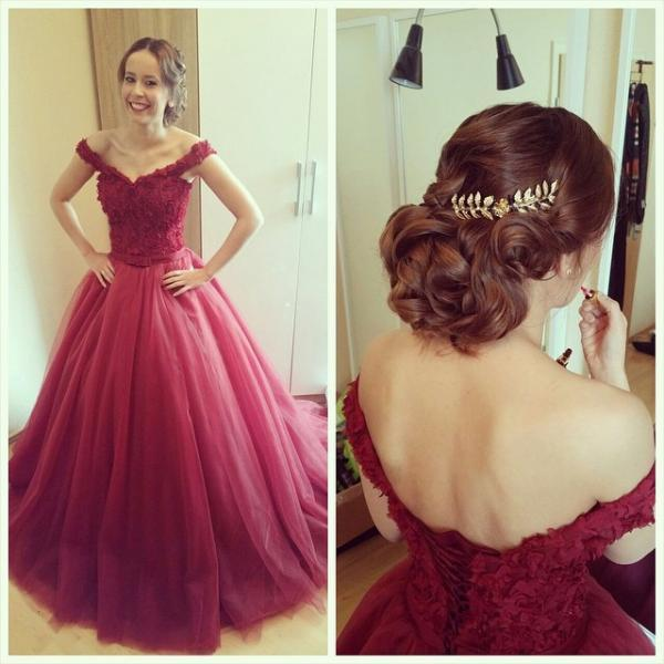 Cap Sleeve Delicate Lace Appliques Princess Prom Dress Sexy Elegant 2016 Off-the-shoulder Lace-up Evening Party Gowns