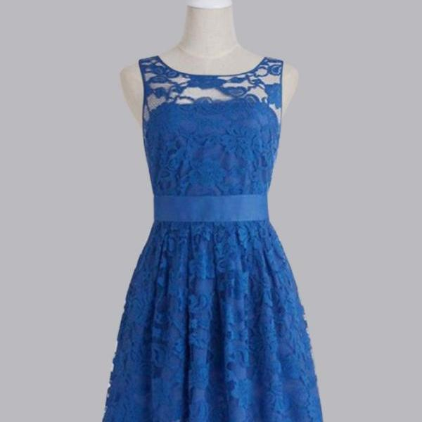 Charming Prom Dress,Blue Lace Prom Dress,Mini Prom Party Dress,Cute Prom Dress