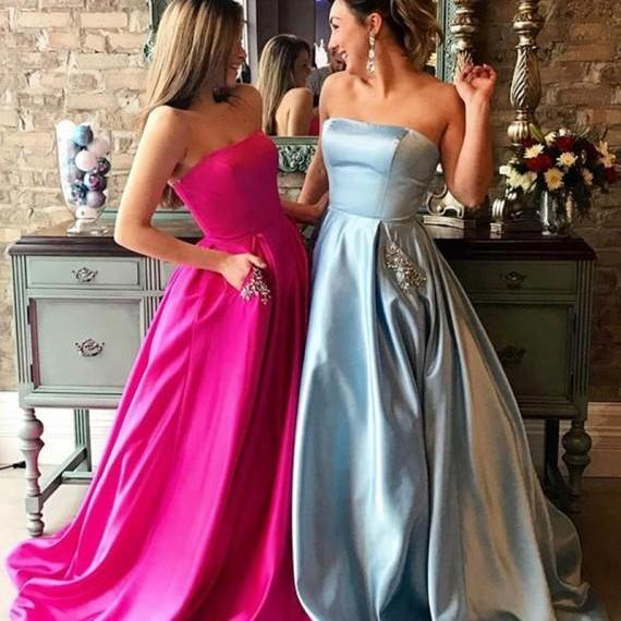 Sexy Prom Dress,Strapless A Line Prom Dresses,Backless Evening Dress,Long Evening Gowns,Prom Dresses 2017