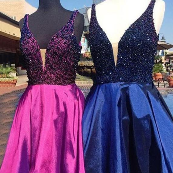Sexy Prom Dress, Beaded Cute Prom Dresses,Elegant Short Prom Gown,Satin Homecoming Dress,Mini Party Dress