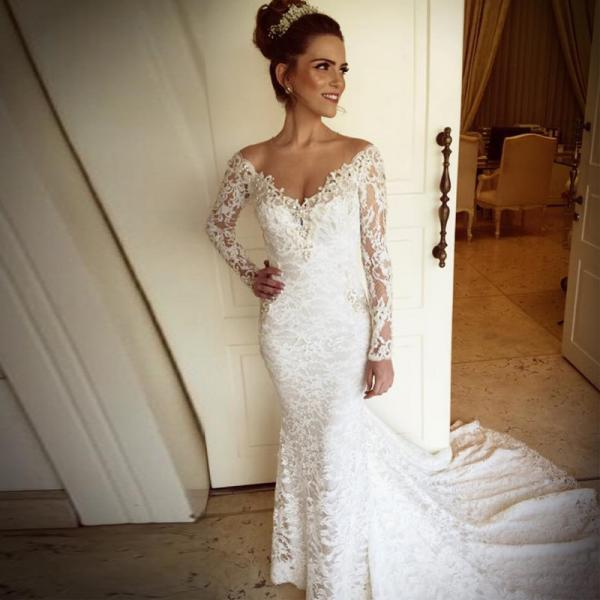 2017 Sexy V Neck Appliqued Lace Wedding Dress Long Sleeve Vestido De Noiva Pearls Long Mermaid Wedding Dresses Bridal Gowns